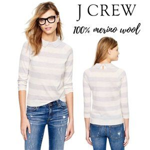 J. Crew Peter Pan 100% Merino Wool Striped Sweater